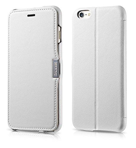 Lusso Custodia per Apple iPhone SE / 5S / 5 / 6S / 6 / 6S Plus / 6 / Case Parte esterna in vera pelle / dal tessile / custodia-protettiva lato pieghevole / ultra sottile Copertura - Marrone - marrone  Bianco - bianco - pelle liscia