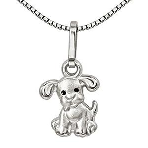 CLEVER SCHMUCK Set Silberner Anhänger Mini Hund mit Schwarzen Augen und Kette Venezia 38 cm, beides Sterling Silber 925 für Kinder im Etui