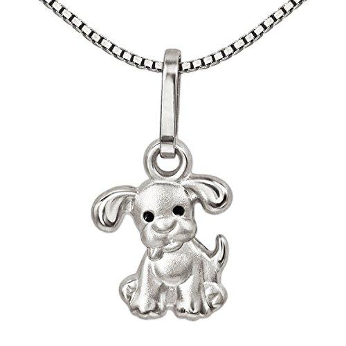 CLEVER SCHMUCK Set Silberner sehr Kleiner Kinder Anhänger Mini Hund mit schwarzen Augen & Kette Venezia 38 cm Sterling Silber 925