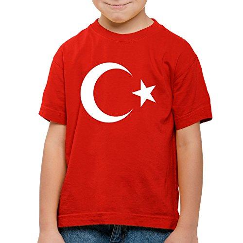 CottonCloud Türkei Kinder T-Shirt Turkey Türkiye Flagge Mondstern, Farbe:Rot;Größe:116
