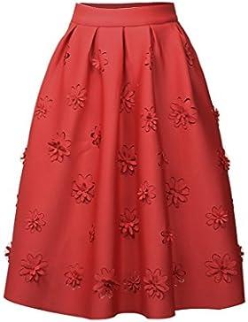 Mujer Flor Hueca Patrón Cintura Elástica Plisada Swing A-Line Midi Falda