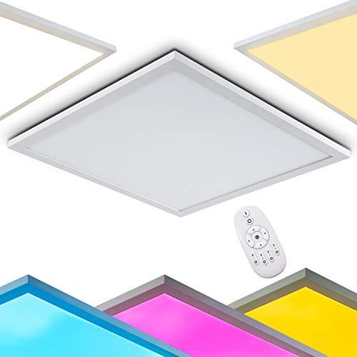LED Designer Deckenleuchte Wabos – Deckenlampe mit RGB Farbwechsler und Fernbedienung – LED Panel mit farbigem Licht – quadratische Lampe mit eingebauten LEDs – 2200 Lumen – 3000 Kelvin - dimmbar
