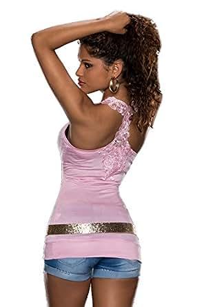 3828 Fashion4Young Damen Tank-Top Spitze Shirt Häkelspitze-Top verfügbar in 9 Farben (One Size 34 36 38, Rosa)