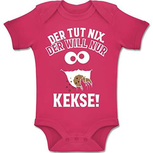 Shirtracer Sprüche Baby - Der TUT nix. Der Will nur Kekse! - 3-6 Monate - Fuchsia - BZ10 - Baby Body Kurzarm Jungen Mädchen -