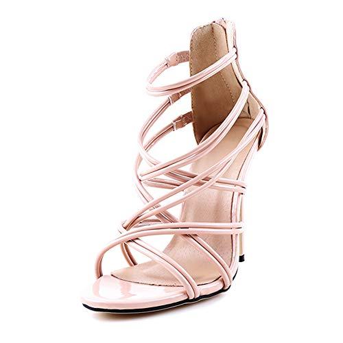 uirend Schuhe Damen Sandalen - Frauen Sommer Sandaletten Stiletto Strappy Bridal Zip Ankle High Heels Offene Zehe Schuhe -