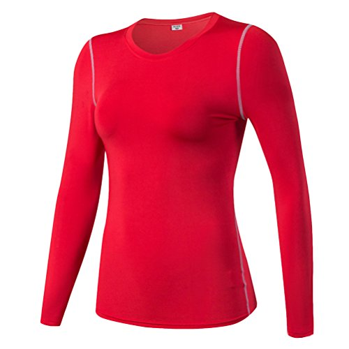 Zhhlinyuan Casual Womens Sports Quick Dry T-Shirts Fitness Running Workout Tops red