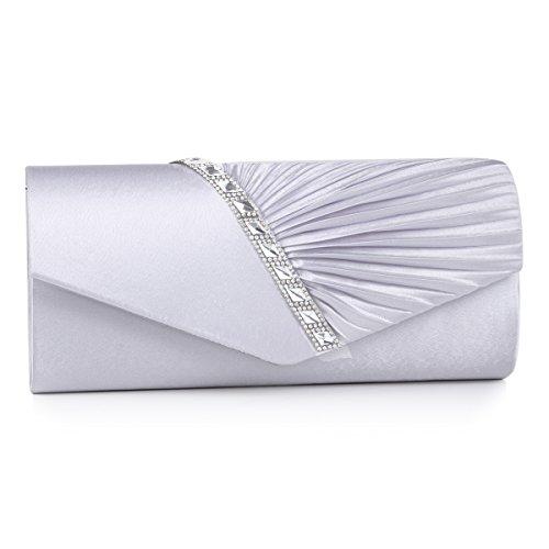 sstein Damen Abendtasche Handtasche,Silber ()