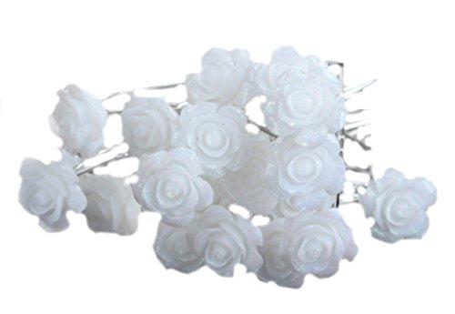 12-er Set Haarnadeln Strass Rosen Perlen Blumen Blüten Haarschmuck Hochzeit Braut Kommunion Tiara