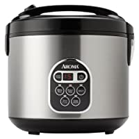 Aroma Professional Rice Cooker with Food Steamer, Silver