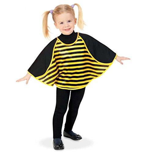 KarnevalsTeufel Kinderkostüm Cape Biene Umhang Überwurf Kindergarten Krippe schwarz gelb gestreift Kleinkind Honig Gr 86, 98 - Honig Biene Kostüm Babys