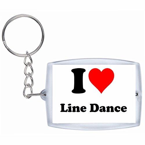 """Preisvergleich Produktbild Exklusive Geschenkidee: Schlüsselanhänger """"I Love Line Dance"""" in Weiss, eine tolle Geschenkidee die von Herzen kommt - Rucksackanhänger- Weihnachts Geschenktipp"""