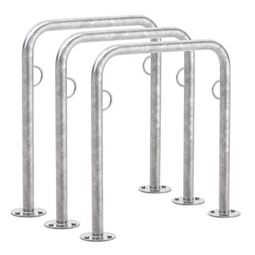Arceau range vélo TRUST 11, Lot de 3, A visser au sol, Galvanisé à chaud, longueur 750 mm - support vélo - arceau vélo - range vélo - anneau antivol - abri pour vélos - support cycles