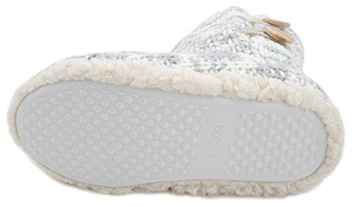 Pantofole donna Chunky Knit pulsante Bootie Slipper Grey