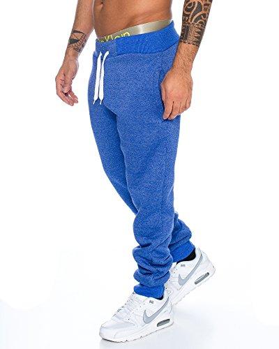 Herren dicke Sporthose Winterhose Thermoshose Basic universal klassisches Model in verschiedenen Farben RT 2834 Blau melliert