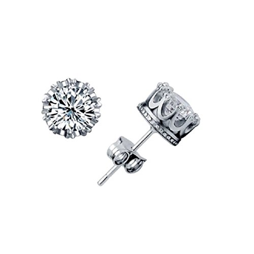 tiempo-pawnshop-noble-imperial-corona-plata-de-ley-simple-unisex-stud-pendientes