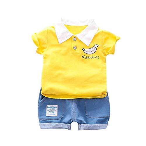 Deloito Kinder Jungen Kurzarm Banane gedruckt T-Shirt Oberteile + Brief Drucken Kurze Hosen Kleinkind-Baby Kinder Hemd Tops Shorts Zweiteiliger Anzug (Gelb,100/[2-3 Jahre])