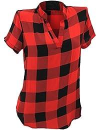 Camisetas Mujer Manga Corta Tallas Grandes AIMEE7 Camisa A Cuadros De Mujer Verano Tops Mujer Verano