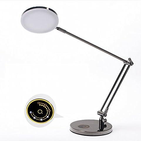Büro Buch Schreibtisch Lange Arm Falten Metall Business Schreibtisch Lampe Führte Auge Lernen (Schwarz Rocker-uhr)