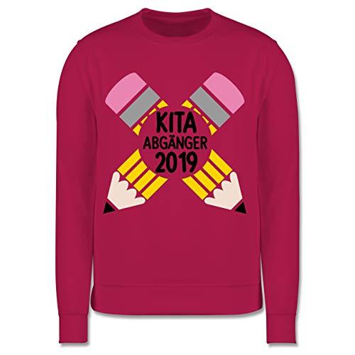 Einschulung und Schulanfang - Kita Abgänger 2019 mit Stiften - schwarz - 7-8 Jahre (128) - Fuchsia - JH030K - Kinder Pullover Premium-magenta Rose
