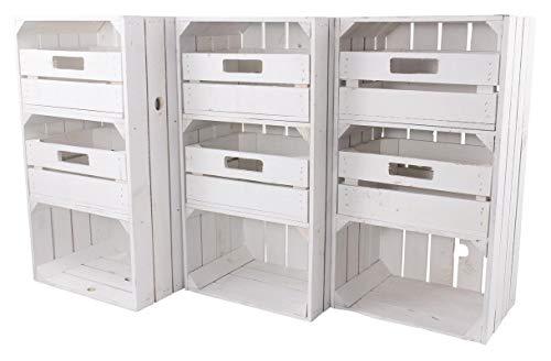 Obstkisten-online 3 Stück Weiße Regalkiste mit 2 Schubladen 75cm x 40cm x 31cm Obstkisten Schrank Holzbox Shabby chic Weiss Nachttisch Wohnzimmer DIY modern Möbel Garten Weinkisten -
