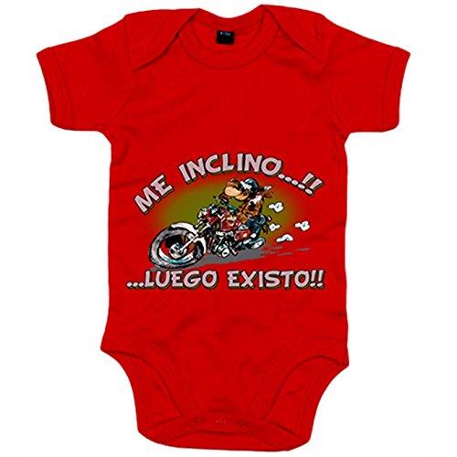 Body bebé para moteros me inclino luego existo - Rojo, 6-12 meses