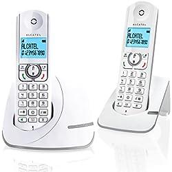 Alcatel F390 Duo - Téléphone sans fil ultra efficace au design coloré, Pure Sound, Mains libres, Grand écran rétroéclairé, Grand répertoire, Sonnerie VIP - Blanc/Gris