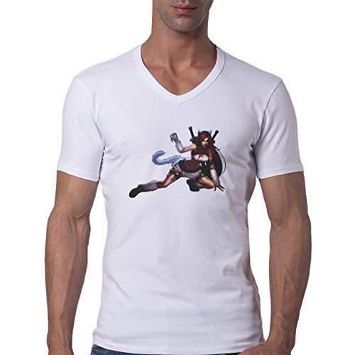 League Of Legends Cat Katarina Herren V-Neck T-Shirt Weiß