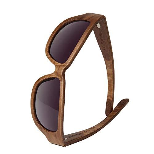 WOLA TYPHON Sport Sonnenbrille Holz Damen und Herren stylische Brille Walnuss grau gradient