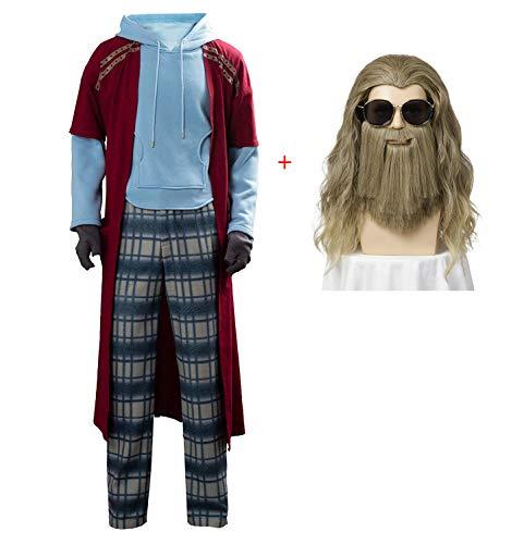 Zounghy Fat Thor Kostüm Cosplay Jumpsuit Perücke Bart für Halloween Kostümzubehör Funny Hair Herren (Funny Fat Mann Kostüm)