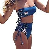 Luckycat Mujer Bañador Traje de Baño Deporte Halter Push Up Atractivo Bikinis Conjuntos Ropa de Baño Beachwear Swimsuit Swimwear Dos Piezas con Follaje Impresión
