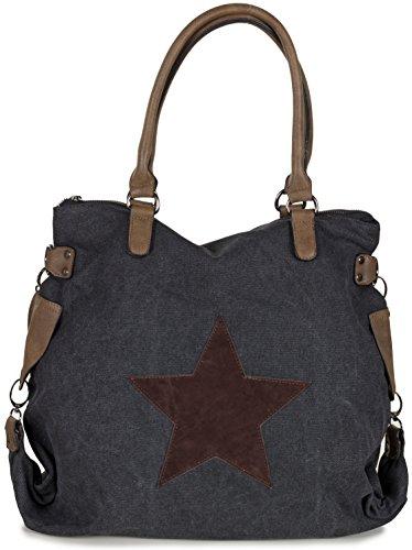4ddb0900d5864 LS Collection Shopper Tasche mit Stern Große Handtasche aus Canvas Stoff mit  Schulterriemen 50 x 37 x 20 cm Schwarz
