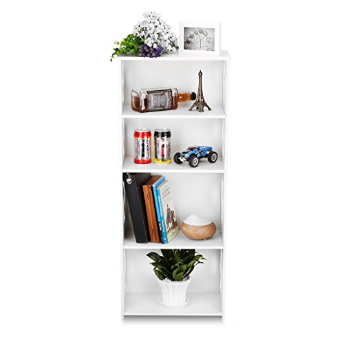 4 tier white wood plastic shelving unit bookcase storage. Black Bedroom Furniture Sets. Home Design Ideas