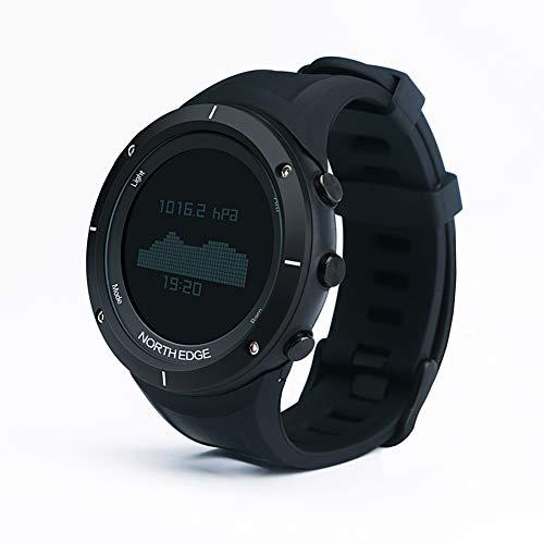 OOLIFENG GPS Smartwatch wasserdichte Multisport, Schwarze Smart Herrenuhr mit GPS, Puls, Höhenmesser Barometer Kompass,Black (Gps-höhenmesser-barometer-uhr)