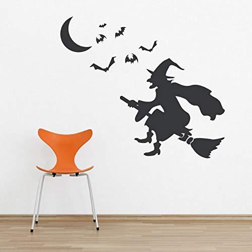 Vinyl Wandtattoo Aufkleber Halloween Hexe Aufkleber Fliegende Fledermaus Spuk Wandkunst Schlafzimmer Wohnzimmer Poster Dekor ()