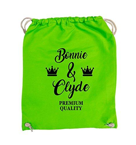 Comedy Bags - Bonnie & Clyde - PREMIUM MOTIV - Turnbeutel - 37x46cm - Farbe: Schwarz / Pink Hellgrün / Schwarz