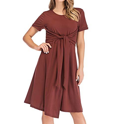 UINGKID Sommerkleid Damen Kleid Tshirt Retro Elegant Kurzarm Minikleid Kleider Womens Summer Lose Rundhals Geknotete Krawatte Brust Lässige