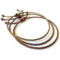 X3 Bracelets corde/fil Mix Marron (Foncé Chocolat Brun). Simple/Unisexe/Porte chance/Brésilien. Fins cordons souples fait et tressés main avec du fil ciré. Ajustable avec nœud coulissant. Réf.#X3C
