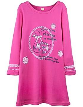 Schwan Nachthemden für Mädchen Langarm Nachthemd für Herbst-Winter 100% Baumwolle Grün