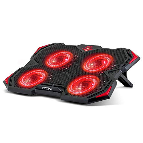 EMPIRE GAMING Storm Cooler - Refroidisseur PC Ordinateur Portable Gamer 12 à 17''- 4 Ventilateurs Silencieux - Support ventilé, Consoles - 3 Positions réglables - 2 Ports USB - LED Rouge