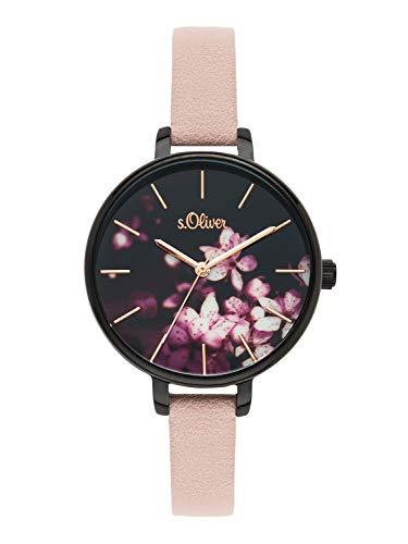 s.Oliver Time Damen Analog Quarz Uhr mit PU Armband SO-3589-LQ -