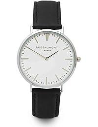 Mr. Beaumont Gents Quarz-Uhr (von Elie Beaumont) mit Silber Schutzhülle Klar Zifferblatt Analog Display, schwarz Nappa Lederband mb1801silverblack