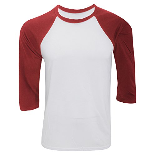 Canvas Herren Baseball T-Shirt, 3/4-Ärmel (Medium) (Weiß/Rot) (Patent Belle)