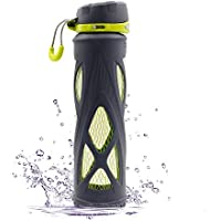 SZPLUS 650ml/480ml botella de cristal con silicona manga amapola Deportes Borosilicato Botella de Agua de Vidrio (Libre de BPA) (Gris, 480ml)