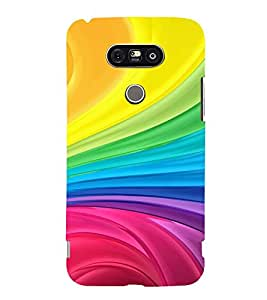 TRICOLOURED RAYS PATTERN 3D Hard Polycarbonate Designer Back Case Cover for LG G5:LG G5 Dual H860N with dual-SIM card slots
