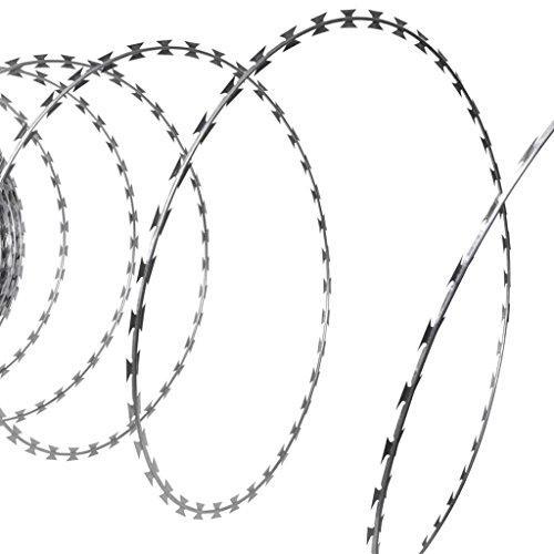 BLXCOMUS Nato rasoir Concertina Fil hélicoïdal Rouleau de fil en acier galvanisé 100 m, clôture de jardin avec rasoir Dimensions : 2,3 x 1,5 cm (L x l)