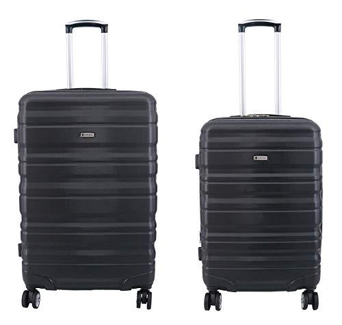 Lot de 2 valises Extensibles, Valise Taille M 65 cm et Valise Taille L 75 cm Worldline ABS & Polycarbonate (Noir)