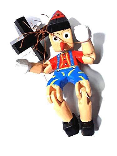 ricevi 1 Marionetta con Fili Altezza 20 cm Pinocchio, burattini per teatrino in Legno marionetta Artigianale burattino,PRESEPE ricevi Portachiavi Omaggio