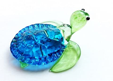 Aquarium MINIATURE main soufflé Art GLASS Collection FIGURINE tortue bleu