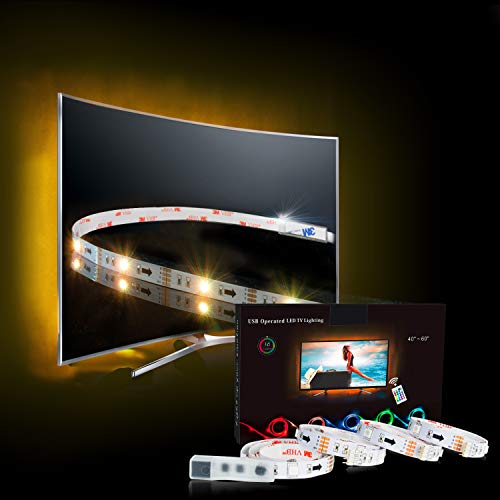 LED Strip,TV LED Hintergrundbeleuchtung RGB 2M/6.56ft LED Streifen Für 40 bis 60 HDTV USB LED TV Beleuchtung mit 24keys Remote, LED Fernseher Beleuchtung