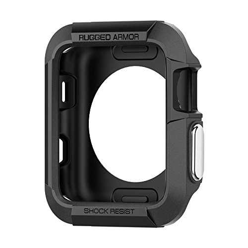 Spigen Rugged Armor - Funda Protector de pantalla para Apple Watch serie 1/2 de 42mm, color negro